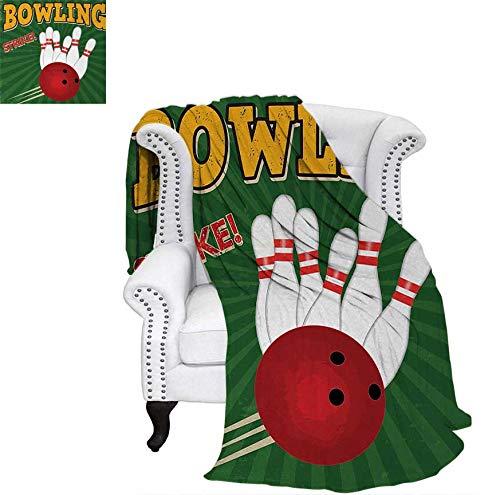 Digital Printing Blanket Bowling Balls and Pins Design Western Sport Hobby Leisure Winner Artsy Art Print Summer Quilt Comforter 60