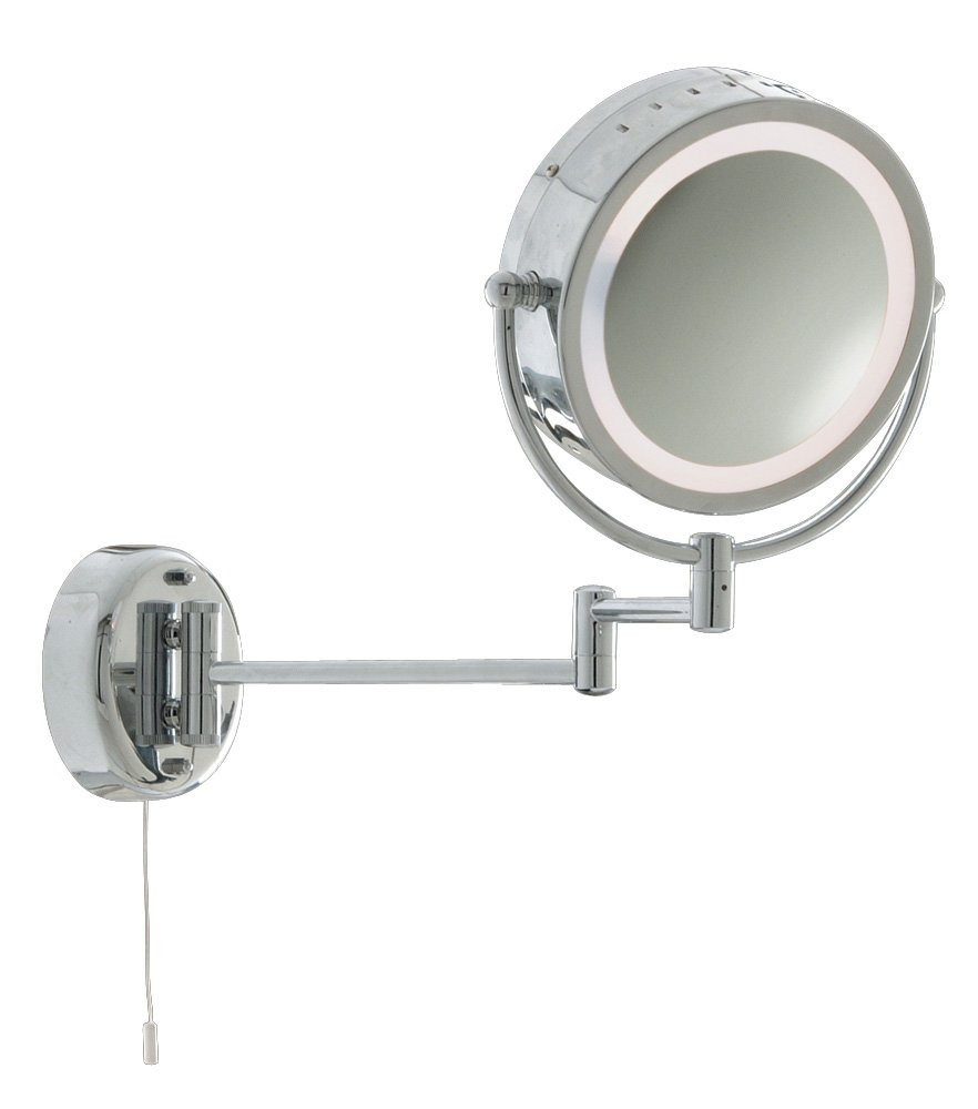 Bathroom Magnifying Mirror Wall Light Chrome Finish 11824 Amazoncouk Kitchen Home