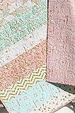 Shimmer Baby Quilt, Girl Crib Bedding, Blanket, Gold Striped, Coral Pink Light Blue Nursery Decor, Brambleberry Glitz