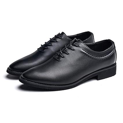 Jusheng Oxford de Negocios para Hombre Punta Estrecha con tacón Plano con Cordones Estilo Joker Zapatos