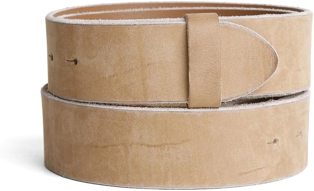 VaModa Belt, Cinturón en piel, modelo vintage, color safari, sin hebilla