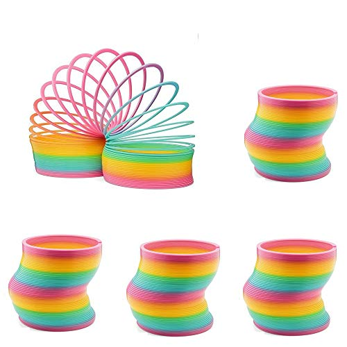 Mydio Extra Long Rainbow Magic Spring Assorted 3.4 Inch by 3.5 Inches Coil Springs (Set of 4)