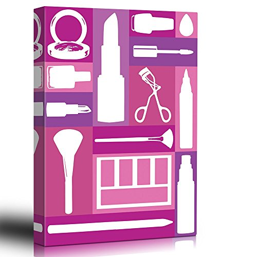 wall26 Home Decor - Makeup - Pink Patchwork - Stencil Style