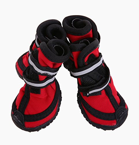 Accurate Boot (Pet Shoes Boots Dog Booties Waterproof Breathable Paw Protectors with Reflective Velcro and Rugged Anti-Slip Sole for Small Medium Large Size Dogs (XS, Red))