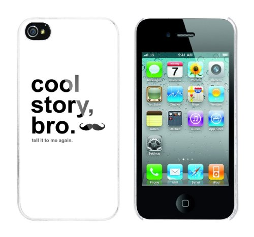 Iphone 4 Case Cool Story Bro - tell it again Rahmen weiss