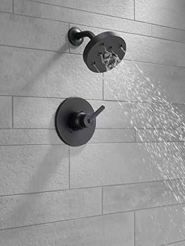 Delta Trinsic 14 Series Single-Function Shower Trim Kit with Single-Spray H2Okinetic Shower Head, Matte Black T14259-BL (Valve Not Included)