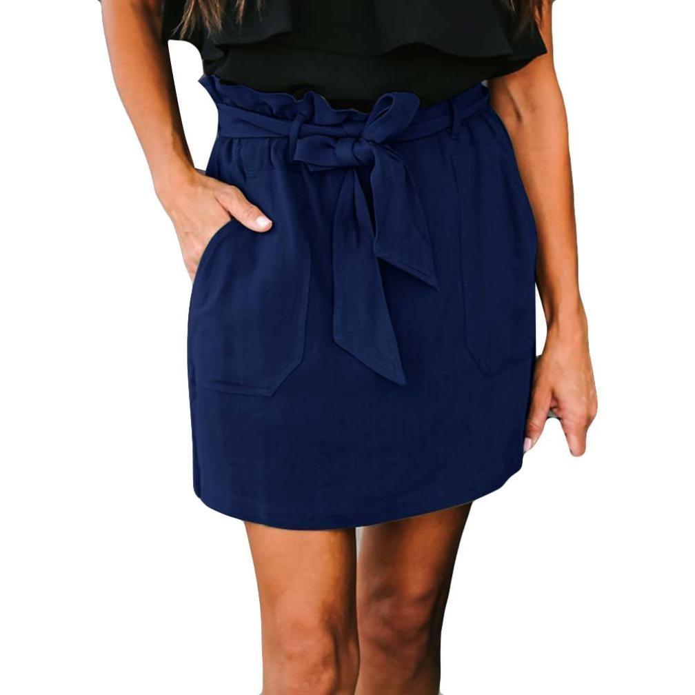 Spbamboo Clearance Sale! Womens Casaul Pocket Pure Color High Waist Summer Skirt by Spbamboo (Image #1)