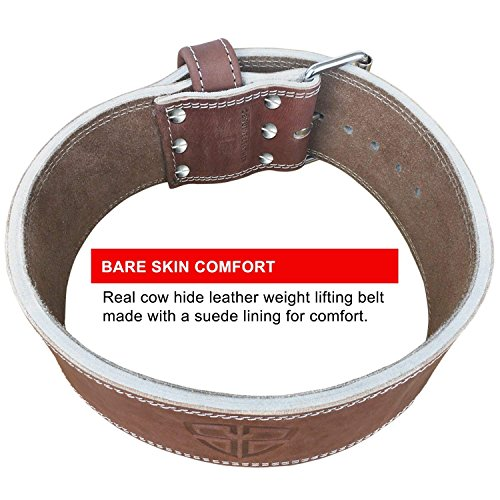 Steel Sweat Weight Lifting Belt - 4 Inches Wide by 10mm - Single Prong Powerlifting Belt That's Heavy Duty - Vegetable Tanned Leather - Hyde Large by Steel Sweat (Image #6)