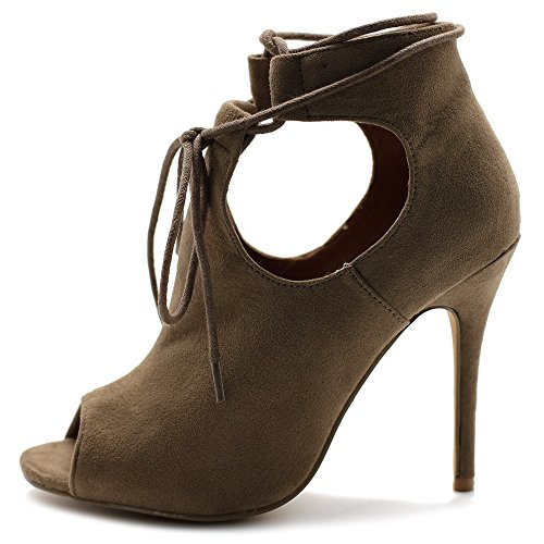 Ollio Women's Shoe Faux Suede Ghillie Lace-up Peep-Toe Stiletto High Heel Booties SSH04(10 B(M) US, Taupe)