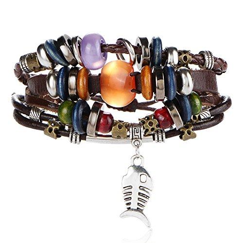 - New Hot retro fish bones multilayer woven leather bracelet beaded bracelet handmade jewelry hand