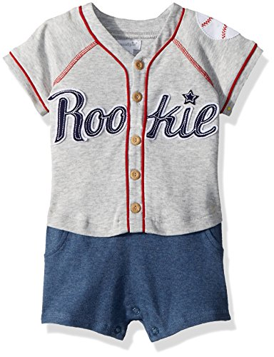Mud Pie Baby Boys Baseball Rookie Raglan One Piece Short Sleeve, Brown, 6-9 Months