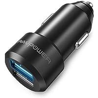 RAVPower Caricabatterie Auto Extra-Mini Alluminio 2 Porte, 24W / 4.8A, Caricatore USB Universale con Tecnologia iSmart per iPhone, iPad, Smartphone Galaxy, Huawei, LG, Nexus, Tomtom, ECC. (Nero)