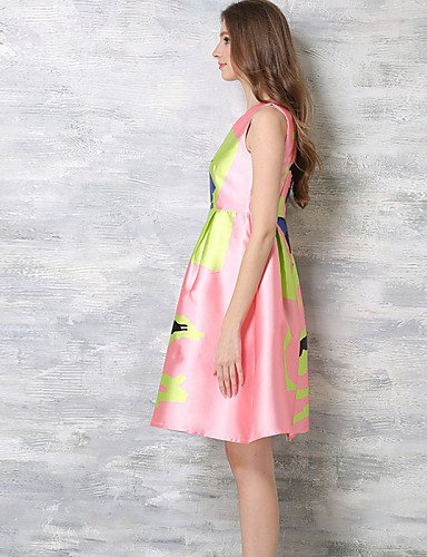 PU&PU Robe Aux femmes Trapèze Bohème,Imprimé Col Arrondi Au dessus du genou Polyester , pink-s , pink-s