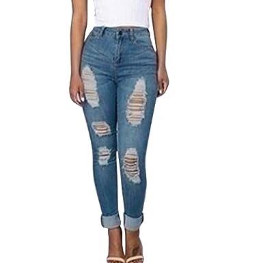 6cf83893a9c81 SANFASHION Jeans Troué Femme Mode Pantalon Denim Taille Haute Slim Skinny  Pencil Trouser Automne Hiver(