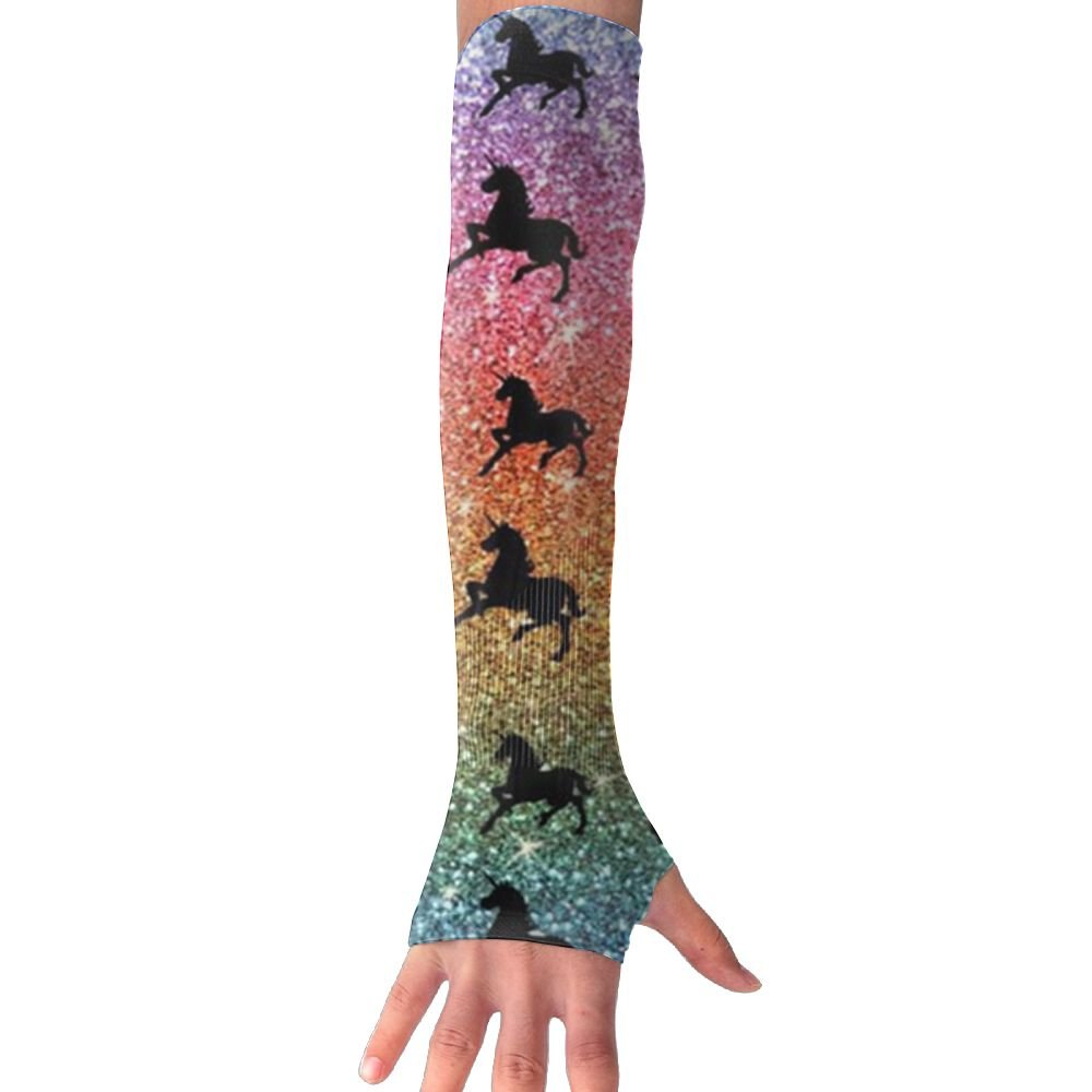 Huadduo Rainbow Glitter Unicorns Women's Super Long Fingerless Anti-uv Sun Protection Golf Driving Sports Arm Sun Sleeves Gloves