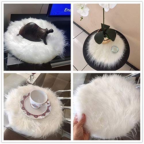 Rambling Soft Round Artificial Sheepskin Rug Chair Cover Artificial Wool Warm Hairy Carpet Seat for Bedroom,Livingroom,Indoor,Diameter:11.7''/15.6''/23.6'' by Rambling (Image #6)