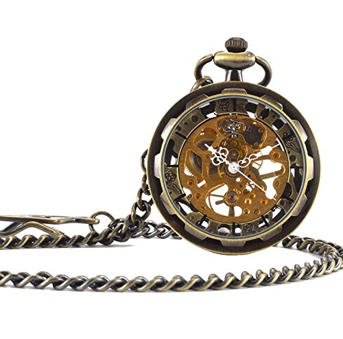 Carrie Hughes Vintage Steampunk Open face Skeleton Mechanical Pocket watch with Chain for Men Woman (Bronze CH397)