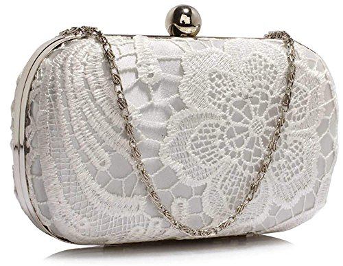 Designer Lace Clutch For HardCase Ladies Evening New 1 Ivory Bag Box Handbag Women With Design Chain zrwpzq