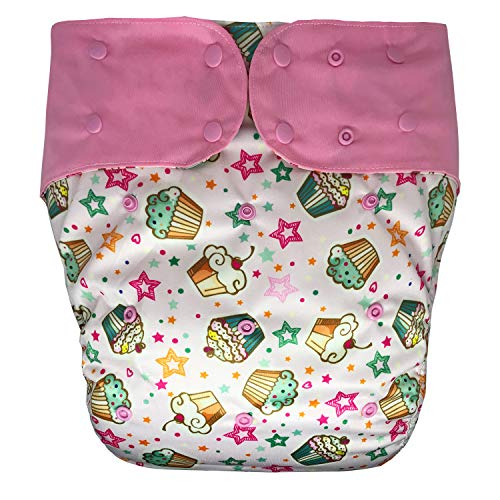 Adult Cloth Diaper - Cloth Diaper Cover - Reusable Special Needs Incontinence Briefs for Big Kids, Teens and Adults (Extended, Cupcake)