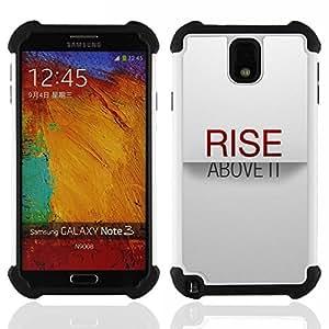 For Samsung Galaxy Note3 N9000 N9008V N9009 - Rise Above It Minimalist Text Stylish Red /[Hybrid 3 en 1 Impacto resistente a prueba de golpes de protecci????n] de silicona y pl????stico Def/ - Super Marl