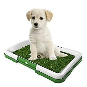"PETMAKER Artificial Grass Bathroom Mat for Puppies and Small Pets- Portable Potty Trainer for Indoor and Outdoor Use by Puppy Essentials, 18.5"" x 13"""