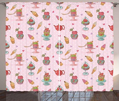 Ambesonne Ice Cream Decor Curtains, Retro Cupcakes Teapots C