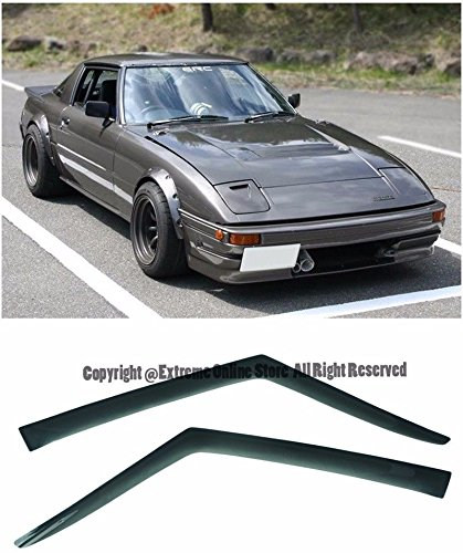 For 78-85 Mazda RX-7 Tape-On Smoke Tinted JDM Side Window Visors Rain Guard Deflectors 1978 1979 1980 1981 1982 1983 1984 1985 78 79 80 81 82 83 84 85 (1979 Mazda Rx 7)