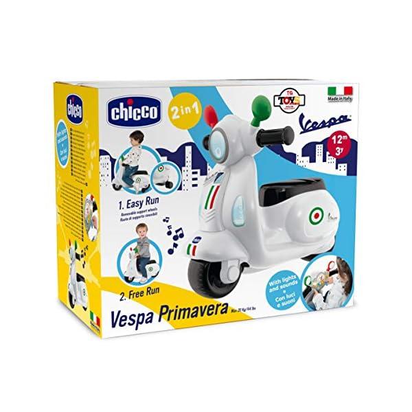 Chicco Vespa per Bambini Primavera Bianca, Moto Giocattolo Cavalcabile con Pannello Elettronico, Luci e Suoni, Ruote di… 3