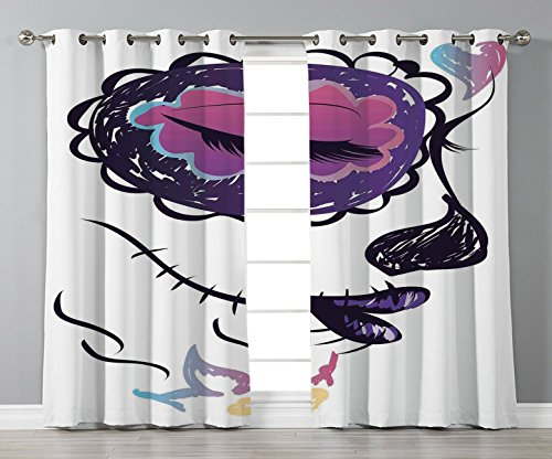 Thermal Insulated Blackout Grommet Window Curtains,Day Of The Dead Decor,Sugar Skull Girl Face with Make Up Hand Drawn Mexican Art,Purple Black and White,2 Panel Set Window Drapes,for Living Room Bedr ()
