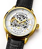 Stuhrling Men's 133.33352 Symphony Automatic Gold-Plated Black Leather Strap Watch