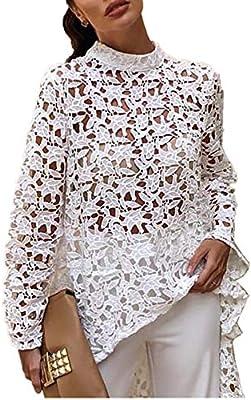 DAHDXD Top para Mujer y Blusas Moda Blusa de Encaje Ahueca hacia ...