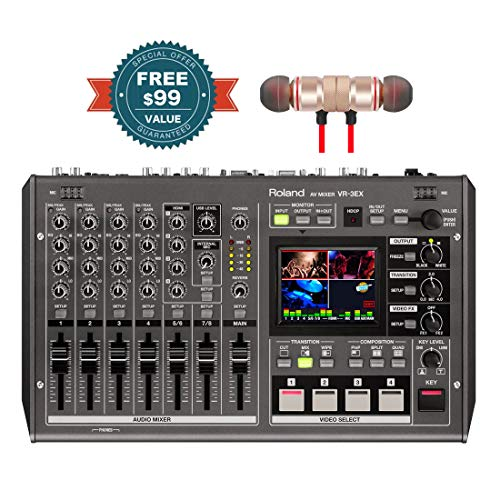 Roland VR-3EX AV Mixer Includes Free Wireless Earbuds - Stereo Bluetooth in-Ear Earphones