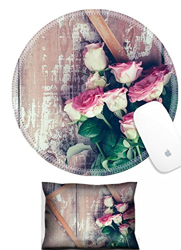 Luxlady Mouse Wrist Rest and Round Mousepad Set, 2pct IMAGE: 31211338 Bouquet of pink roses and a wooden on old board background vintage color tinting ()