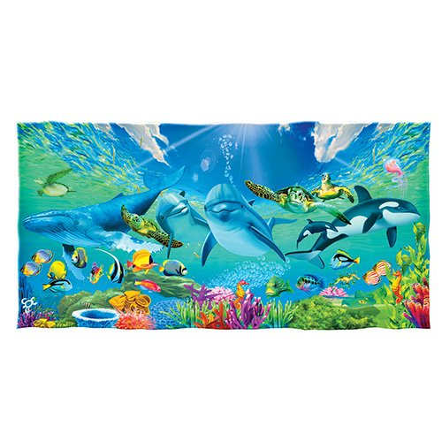 Underwater Paradise Dolphins Turtles Whales Fish Cotton Beach Towel