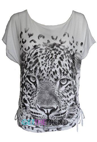 Get The Trend - Camisas - Animal Print - Manga corta - para mujer blanco