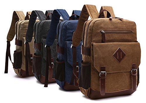 Kenox-Mens-Large-Vintage-Canvas-Backpack-School-Laptop-Bag-Hiking-Travel-Rucksack
