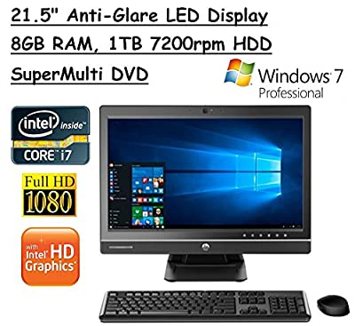 Newest HP All-In-One ProOne 21.5 Inch IPS Full HD Flagship High Performance Business Desktop PC | Inte l Core i7 4790S Quad-Core | 3.20 GHz | 8GB DDR3L | 1TB HDD | DVD RW | Windows 7 Pro | Black