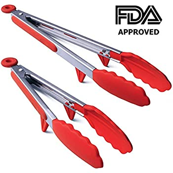 Silicone Cooking Tongs,Kitchen Food Tongs,Stainless Steel Material With Heat Resistant Premium Silicone Grip For BBQ Grilling Turner Cooking Tips, 2 pack ( 9 Inch+12 Inch) (red)