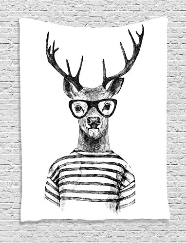 Ambesonne Deer Decor Collection, Dressed Up Deer Reindeer Headed Human Hipster Style with Glasses Striped Shirt Design, Bedroom Living Room Dorm Wall Hanging Tapestry, Black - Photo To Glasses Hipster Add