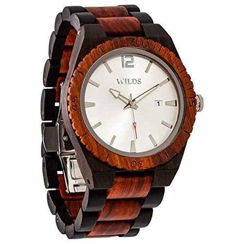 Wilds Wood Watches for Men - with Date Display - Minimalist Collection Analog Wooden Wrist Watch with Premium Japanese Quartz Movement - Lightweight, Stylish, Durable - Men Gift Ideas ...
