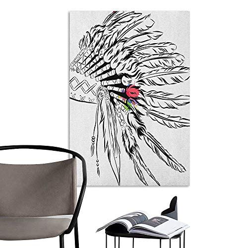 Camerofn Wall Mural Wallpaper Stickers Feather Native American Headdress in Sketch Style with Color Splashes Primitive Black White Multicolor for Kids Rooms Boy Room W8 x H10
