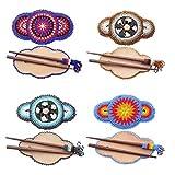 Seed Beaded Flower Bead work Multi color Wood Stick Hair Barrette Wholesale Lot 4