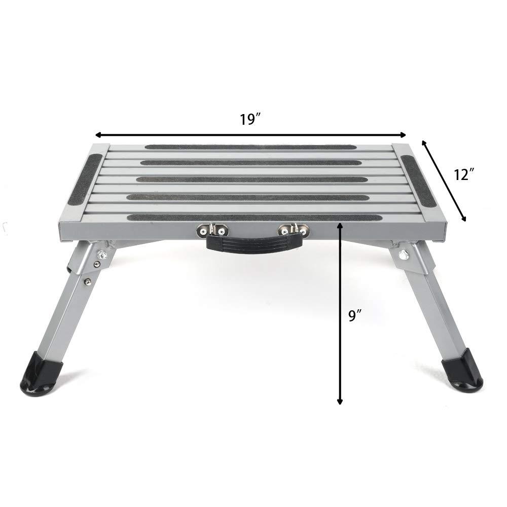 Aluminium 440lbs with Reflective Stripe Anti-Slip Surface and Extra Grip Pr1me 19 x 12 RV Folding Step Step Stool