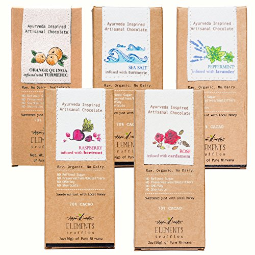 Elements Truffles Sampler Pack - Dairy Free Chocolate Bar - Gluten Free, Non-GMO, Raw & Organic Chocolate Bar - Ayurveda Inspired Healthy Chocolate Bar - Raspberry, Orange, Sea Salt, Lavender & Rose