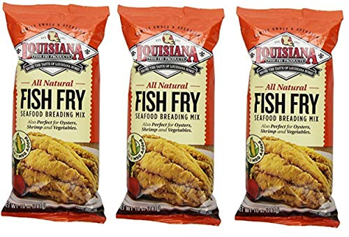 Louisiana Fish Fry Products - All Natural Fish Fry Seafood Breading Mix (No Salt, No MSG, Unseasoned), 10 Ounces - Pack of 3 Bags