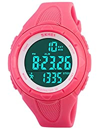 Womens Pedometer Fashion Sports Chronograph Waterproof Electronic Watches For Girls Pink