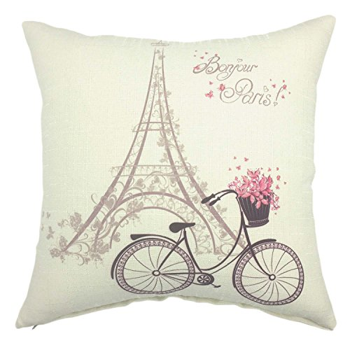 YOUR SMILE-Paris Rustic Cycle Cotton Linen Square Cushion Covers Throw Pillow Covers Decorative 18 x 18 (Bicycle 2) -