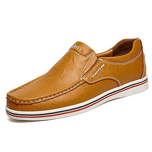 CAI Herrenschuhe Echtes Leder Leder Schuhe Sommer/Herbst/Winter Komfort Loafers  Slip Ons Schwarz/Blau/Braun Herren Driving Shoes/Loafers (Farbe : Braun  Größe : 45) Braun