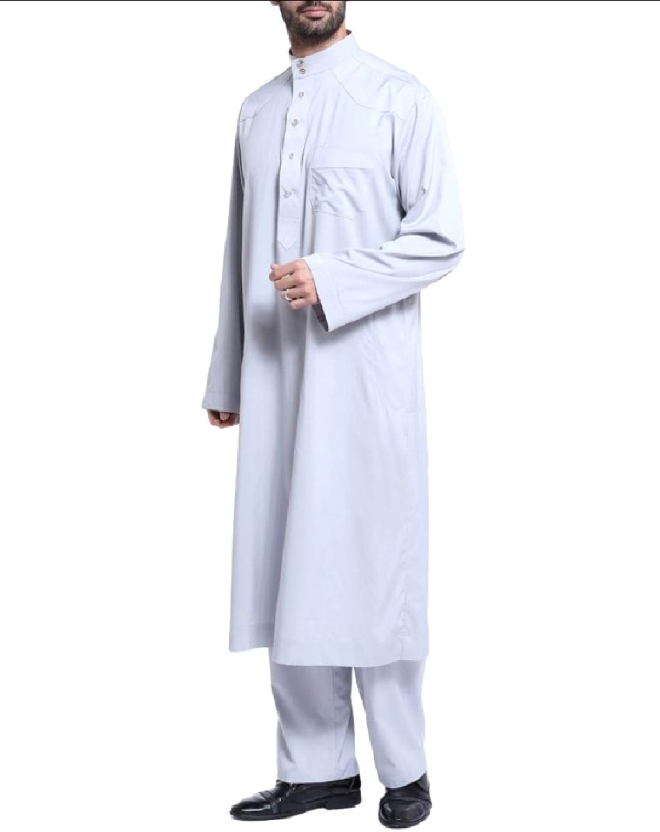 CuteRose Men Long Sleeve Saudi Arabia Islamic 2-Piece Muslim Salwar Sets Grey XL