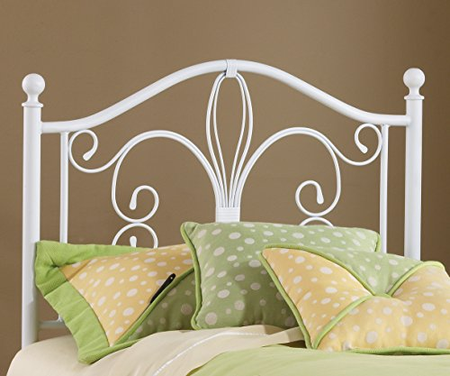 Bergshoeff Textured White Twin Bed Headboard (Bedroom Wrought Furniture White Iron)